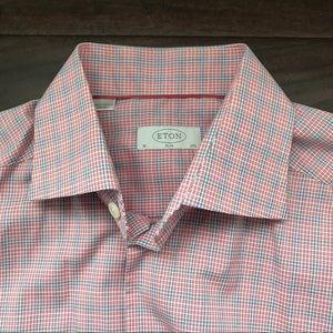 Eton Red Check Slim Fit Shirt